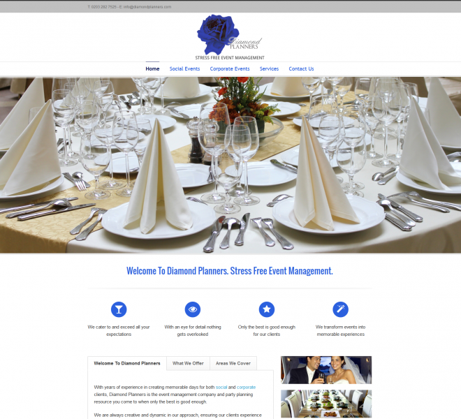 Event Plaanning Website designed by Empowerment Designs